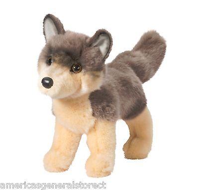"DANCER Douglas Cuddle Toy plush 9"" long WOLF stuffed animal toy timber gray"