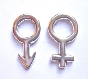 2 x FEMALE VENUS  SYMBOL HALF HEART CHARM 29mm x 20mm SILVER COLOUR