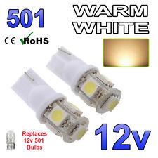 2 x Warm White 12v Capless Side Light 501 W5W 5 SMD T10 Bulbs Car Scooter Bike