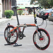 "JAVA FIT Adult Aluminium Folding Bike 20"" 451 Wheel 18 speed Disc Brake Foldable"