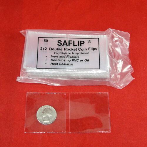 Saflips 2 packs of 50 Saflip 2x2 Double Pocket Coin Flips Pack of 100