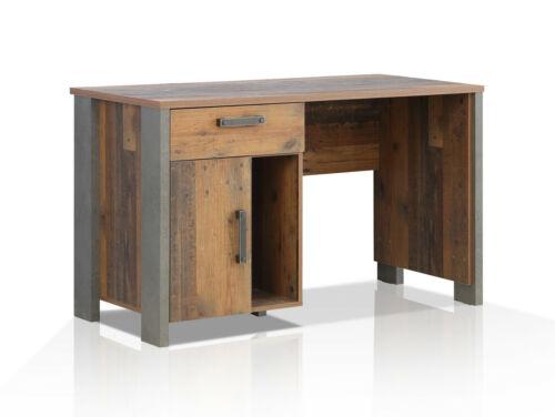 CASSIA Schreibtisch Computertisch Bürotisch Tisch Büro Old Wood Vintage Grau