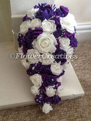 Wedding Brides Teardrop Bouquet in Cadbury Purple & White with diamante crystals