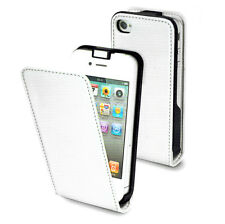 iPhone 4/4s Slim Elegant Flip Case Folding Front Cover (White) Leather