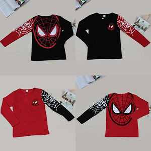 Toddler-Kids-Unisex-Boys-Spiderman-Long-Sleeve-Top-Basic-T-Shirt-Blouse-1-7-T