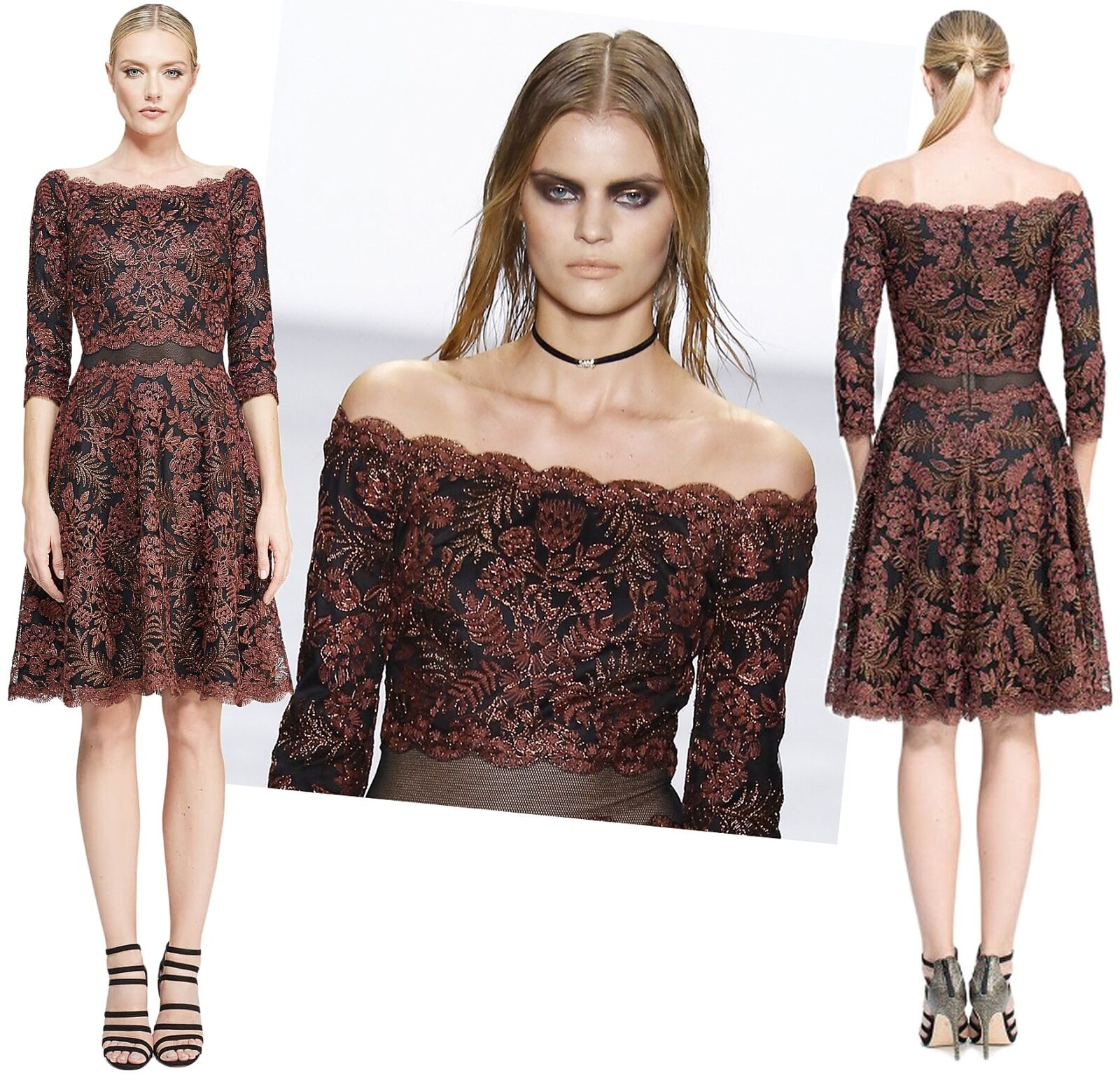 Tadashi Shoji Lana Embroidered Lace Off Shoulder Illusion Waist Dress