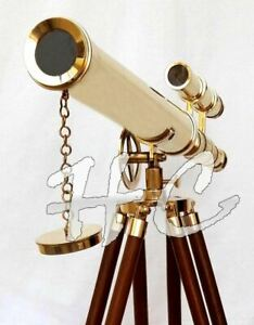 Marine-Nautical-Navy-Brass-Double-Barrel-Telescope-18-034-With-Wooden-Tripod-Stand