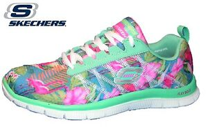Skechers Flex Appeal Floral Bloom, Damen Sneakers, Blau (AQMT), 36 EU