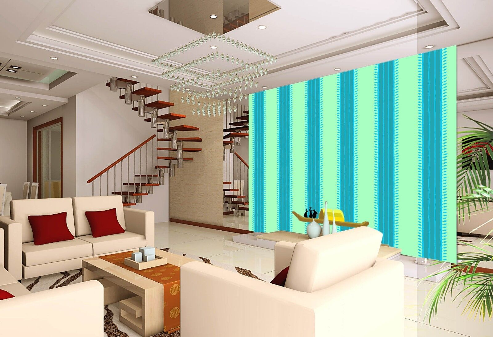 3D bluee greenical Lines Paper Wall Print Wall Decal Wall Deco Indoor Murals