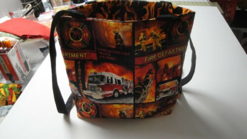 Fire Fighter Tote Bag-Fire Symbols Collage-Machine Quilted-Hand Made