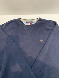 Vintage Tommy Hilfiger blau Pullover Strickpullover Herren Größe 2xl
