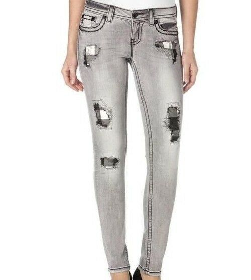 NWT Miss Me Grey Distressed Signature Skinny Jeans Juniors Size 29 X 31  JS5012S
