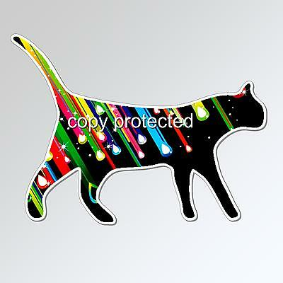 cat car bumper sticker colourful star struck walking kitten 125 x 93 mm vinyl