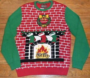 Ugly Christmas Sweater Brick Fireplace With Wreath Men 39 S Sizes Small Xl Ebay