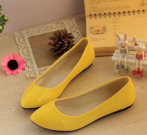 Women's Summer Ballet Flat Casual Patent Leather Shoes Pumps Candy Color Shoes