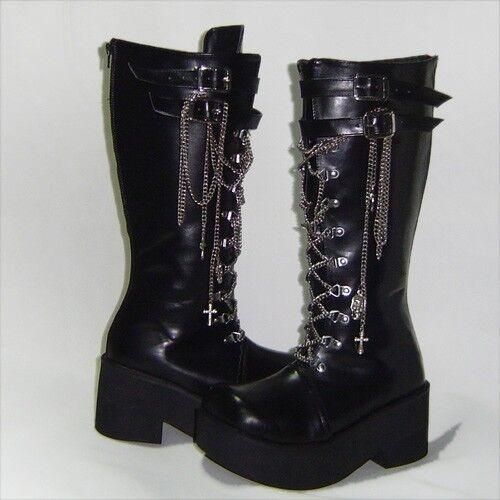 Schwarz punk gothic lolita stiefel Stiefel schuhe Schuhe sexy high heel neu goth