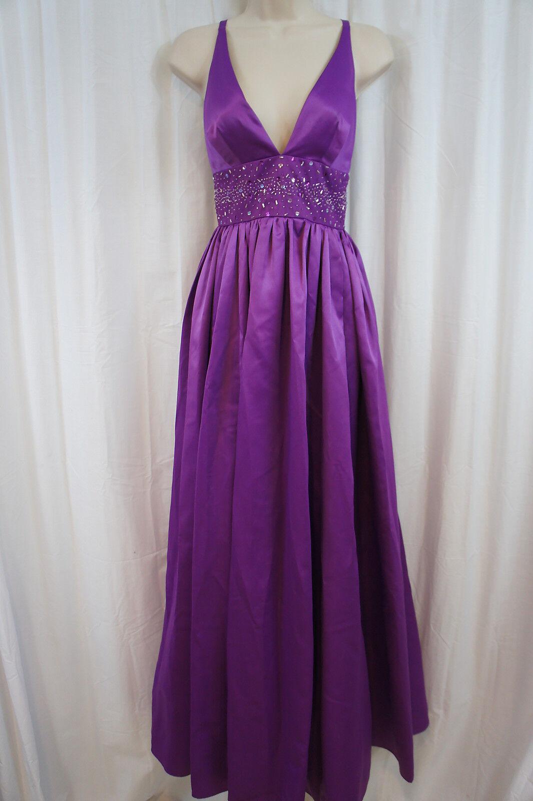 Jessica Simpson Dress Sz 10 Dewberry lila Empire Embellished Waist V Gown