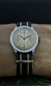 RARE!! LOWENTHAL SINGLE PUSHER CHRONOGRAPH cal.14 WWII 30's VINTAGE SWISS WATCH.