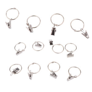 Image Is Loading 12Pcs Shower Curtain Rings With Clips Clamps Hanger