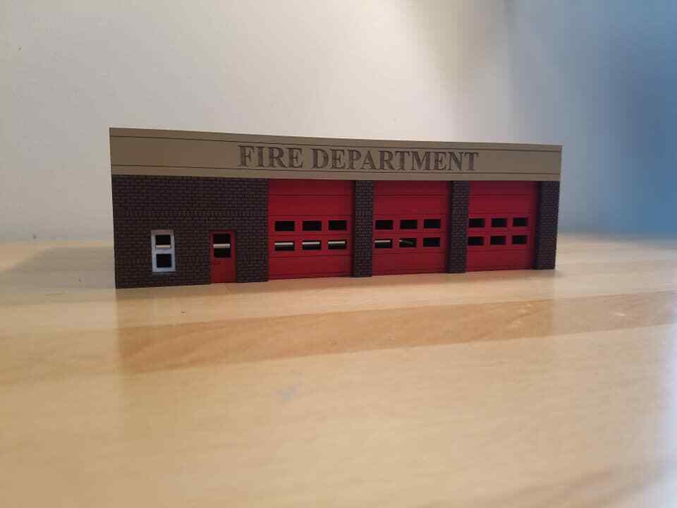 HO Scale 1 87 Modern 3 bay Fire Station Built and Ready