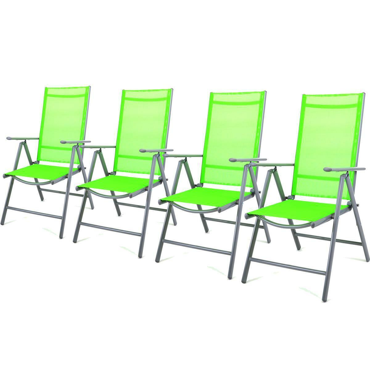4er set silla plegable de aluminio silla de jardín silla de camping Textilene verde terraza