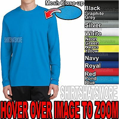 Mens Long Sleeve T-shirt Moisture Wicking Drifit Micromesh S-xl 2xl 3xl 4xl