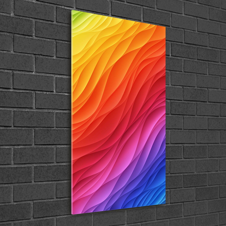 Immagine muro ARTE-STAMPA su duro-vetro ad alta Kant 50x100 ONDE ColoreeeATE