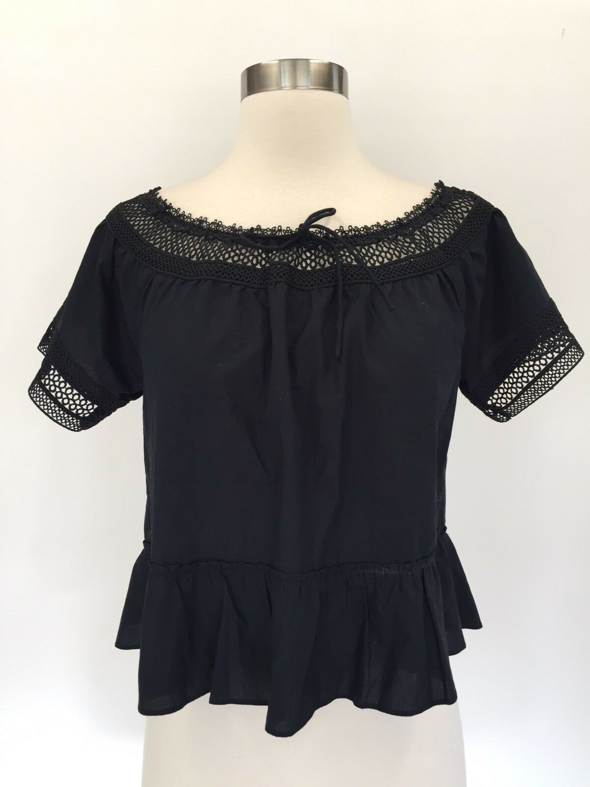 New Madewell off-the-shoulder peplum top blouse schwarz Sz L Large G7440