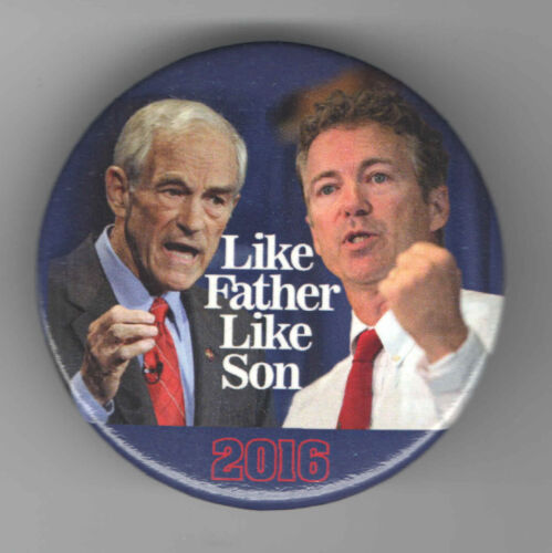 2016 pin RAND PAUL + RON PAUL pinback #2