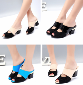 Summer-Women-039-s-Rhinestone-Peep-Toe-Sandals-Slippers-Casual-Slides-Shoes-US-4-5-9
