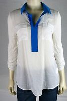 Kensie White Blue Collared Viscose Button Tabbed Sleeve Solid Top M 8 10