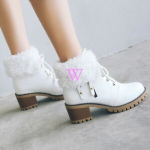 b9ff06ad3c87 Casual Round Toe Lace Up Biker Chunky Heel Ankle Boots Women s Shoes ...