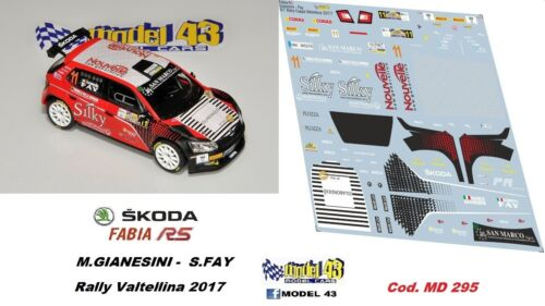GIANESINI SKODA FABIA R5 Rally Valtellina   2017 DECAL  1//43