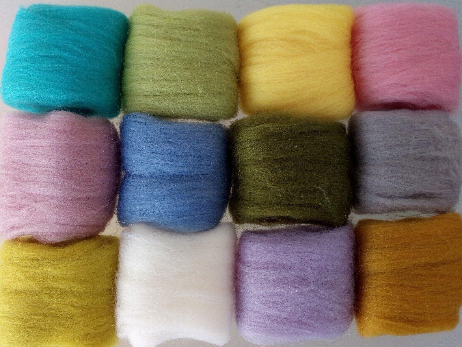 Set C* Pure Merino Wool Tops for Felting packs of 12 colours 60 g