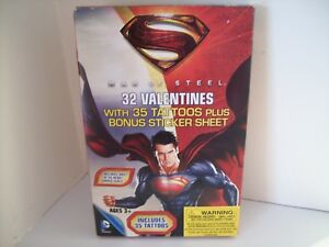 Details About Valentines Day Cards Box Of 32 Superman Man Of Steel With 35 Tattoos Stickers