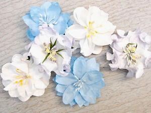 SPRINGTIME-Mixed-BLUE-WHITE-LAVENDER-2-x-3-Each-Flowers-PAPER-50-55mm-MH-ConB