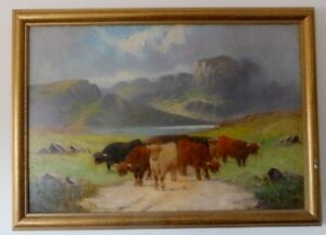 Scotland-Landscape-by-Henry-Calvert-1798-1869-signed-original-oil-painting