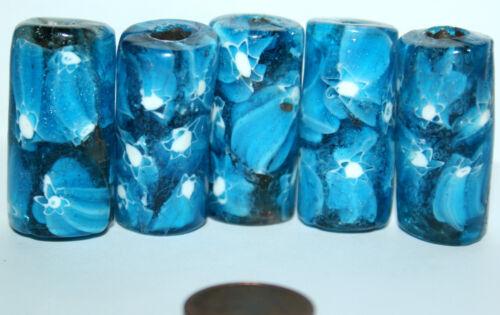 5 x Blue Millefiori rodillo beads abalorios