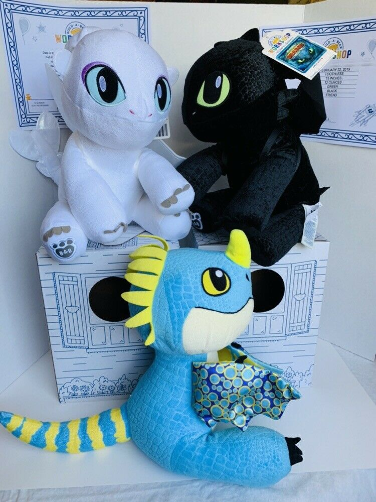 BUILD A BEAR Toothless Light Fury How To Train Your Dragon Plush & Stormy Lot