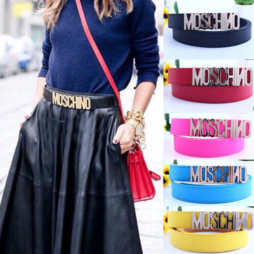Womens Ladies Leather MOSCHINO Gold Letters Belt In The Box with Bag Waistband