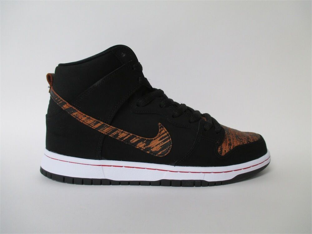 Nike SB Dunk High Distressed Leather Black Red White Sz 5.5 305050-026