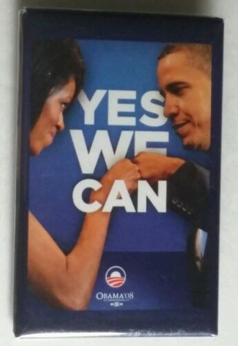 YES WE CAN Michelle /& Barack Obama Political Button Vertical Original 2008 Item