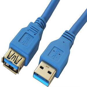 z-3m-USB-3-0-BLAU-VERLANGERUNGsKabel-Anschluss-SuperSpeed-Verlaengerung-Kabel-3-m