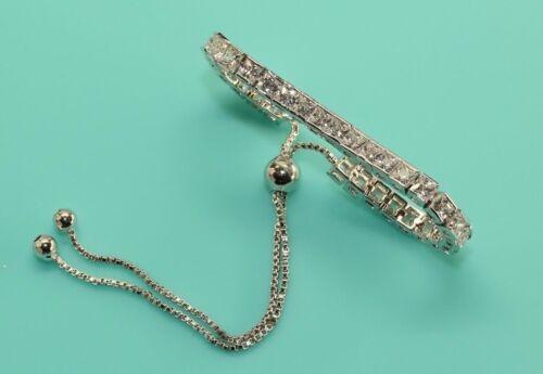 1.5 Carat Adjustable Diamond 14K White Gold Finish Bracelet For Women Rubyshire