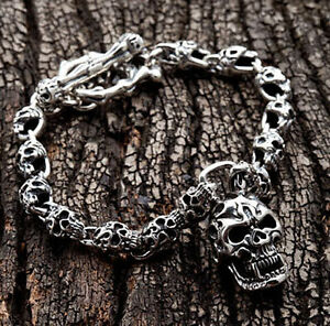 FLAME-TATTOO-SKULL-925-STERLING-SILVER-MENS-CHAIN-BRACELET-NEW-GOTHIC-BIKER