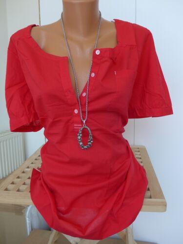 42-56 Kurzarm Rot mit Knopfleiste NEU Sheego Bluse Tunika Gr 358