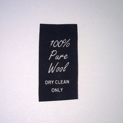 100/% Wool Dry Clean Only Black Taffeta Printed Sew In Labels Qty 250 # 228