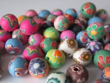 50 MIXED POLYMER FIMO CLAY ROUND BEADS ~ Random Flower & Assorted Pattern ~ 8mm