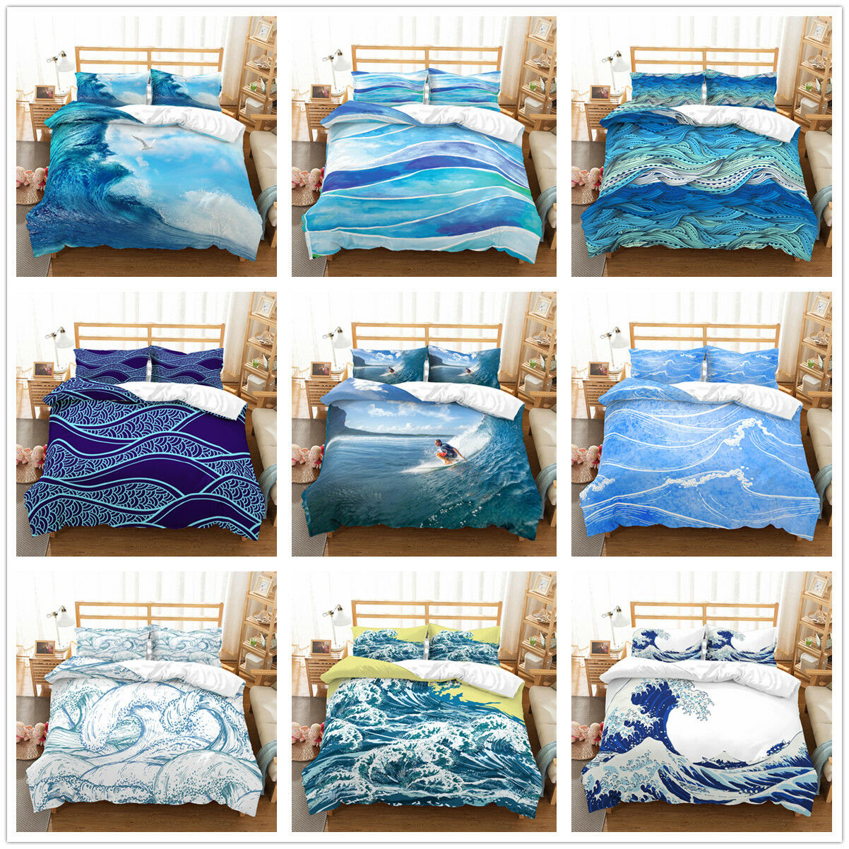 3D Sea Wave Surf Duvet Cover Bedding Set Quilt/Comforter ...