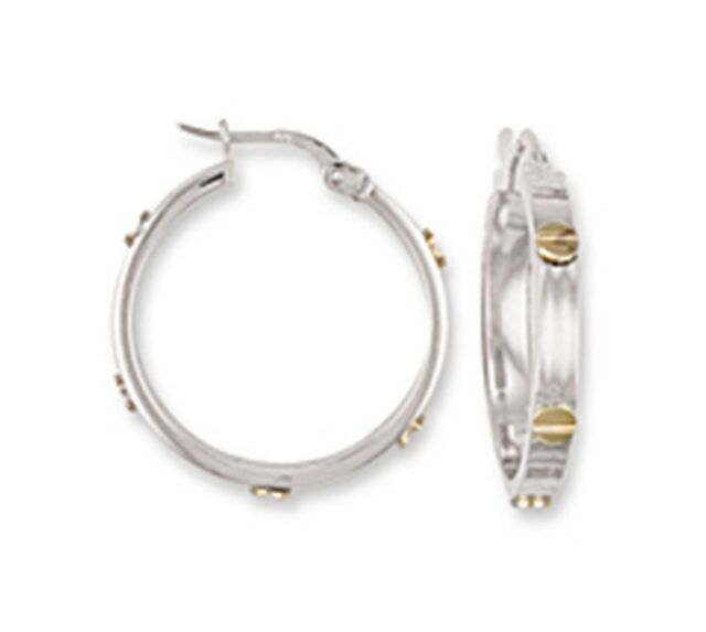 1 8cm Wide 9ct White Gold Hoop Earrings 5g